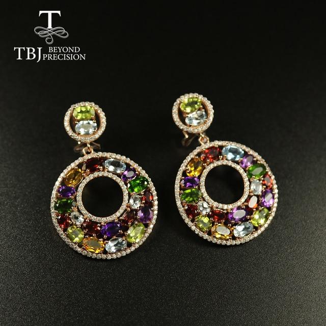 Tbj Big luxury Party Gemstone Earring,20ct Multi colorful gemstone c earring 925 sterling silver rose gold fine jewelry women