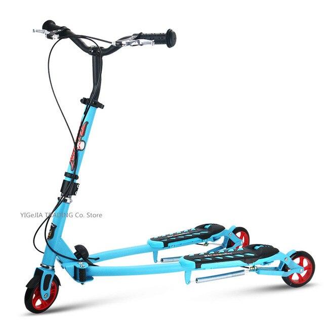 Katlanır çocuklar scooter 3 tekerlekli, taşınabilir 2 pedallı Scooter üç tekerlekli bisiklet, makas scooter ayarlamak yükseklik, pu tekerlek çocuk scooter