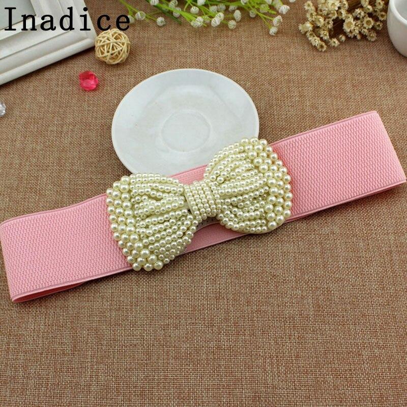 Inadice Simple Fashion Elegant Pearl Bow Belt Women's Wide Belt Dress Elastic Stretchable Wide Belt