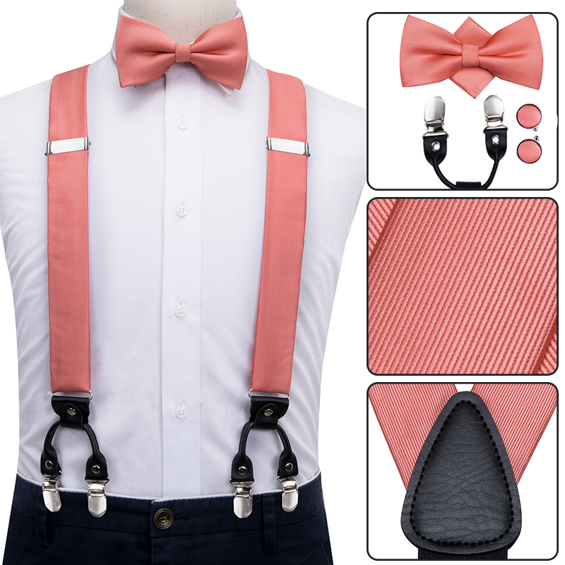 Hi-Tie 100% Silk Adult Men's Suspenders Bow Tie Cufflinks Set Leather Metal 6 Clips Braces Elastic Suspenders Men Coral Peach