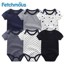 6 יחידות\סט יילוד תינוק ילד בגדים פעוט בנות Rompers קיץ קצר שרוול תינוק סרבל תינוקות זעיר כותנה תינוק בגדי roupa דה bebe