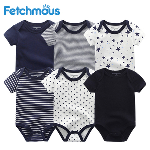 Image 1 - 6Pcs/sets Newborn Baby Boy Clothes Toddler Girls Rompers Summer Short Sleeve Baby Onesie tiny Cotton Baby Clothing roupa de bebe
