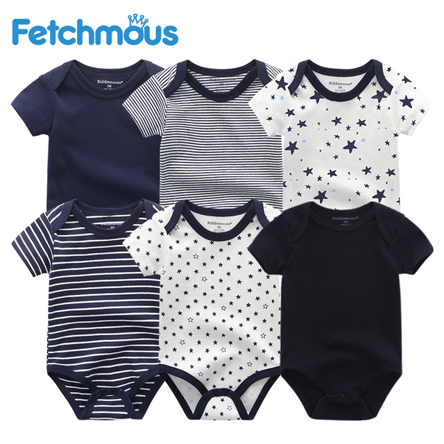 6Pcs/sets Newborn Baby Boy Clothes Toddler Girls Rompers Summer Short Sleeve Baby Onesie tiny Cotton Baby Clothing roupa de bebe