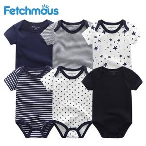 Image 1 - Vêtements pour nouveau né garçon, 6 pièces/ensembles, à manches courtes, vêtements dété pour bébés, tout petit coton, barboteuse filles