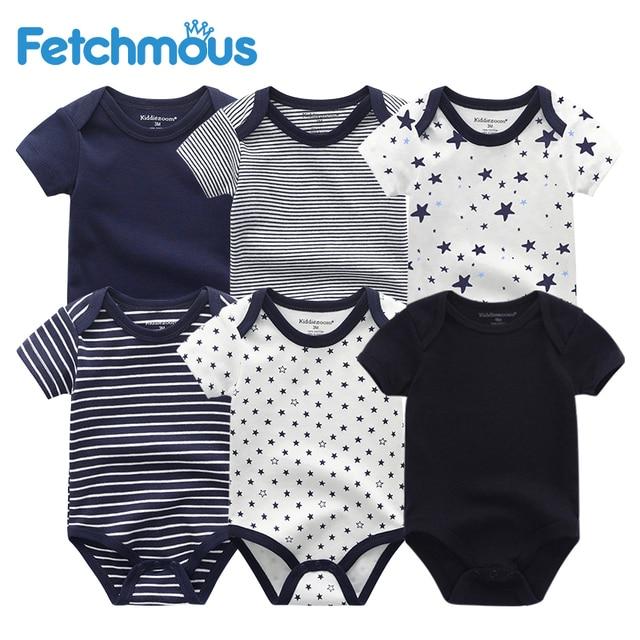 Vêtements pour nouveau né garçon, 6 pièces/ensembles, à manches courtes, vêtements dété pour bébés, tout petit coton, barboteuse filles