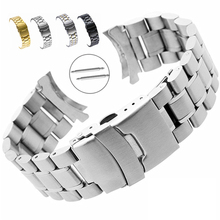 Watchband Men Bracelet Curved-End Stainless-Steel Band-Accessories Buckle-Strap Metal