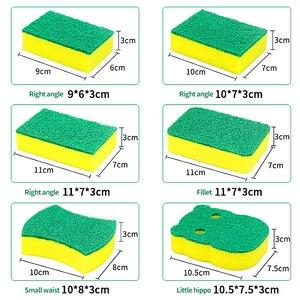 Image 2 - 10 adet yüksek yoğunluklu sünger mutfak temizlik araçları yıkama havlu silme bezi sünger ovma pedi mikrofiber bulaşık temizleme bezi