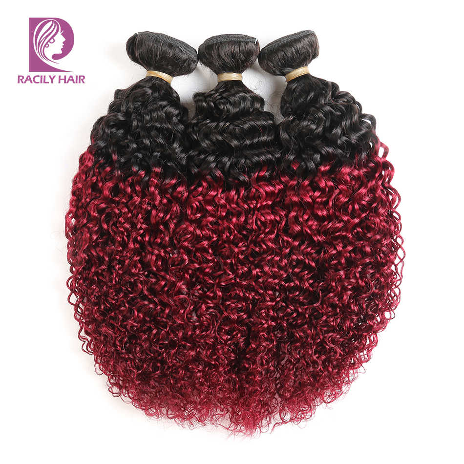 Racily Rambut 1B/Merah Anggur Ombre Brasil Keriting Keriting Bundel Remy Menenun Ekstensi Rambut Manusia 99J Merah 1/3 /4 Bundel Gratis Pengiriman