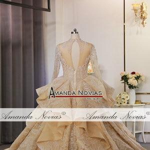 Image 3 - 새로운 럭셔리 반짝이 직물 웨딩 드레스 두바이 디자인 웨딩 드레스 2020
