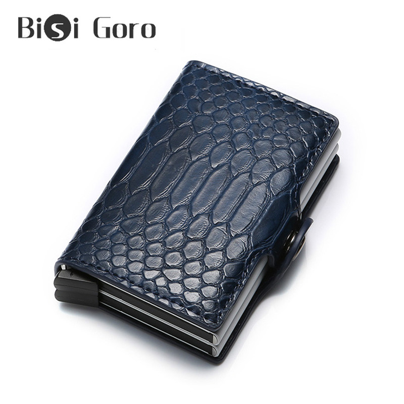 BISI GORO Anti Rfid Men Women Id Credit Card Holder Case Wallet Metal Aluminum Business Bank Creditcard Cardholder Protection