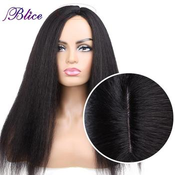 Blice Synthetic Yaki Straight Wig 18-22 Inch Long Hair Side Part Wigs No Bangs For African American Women - discount item  40% OFF Synthetic Hair
