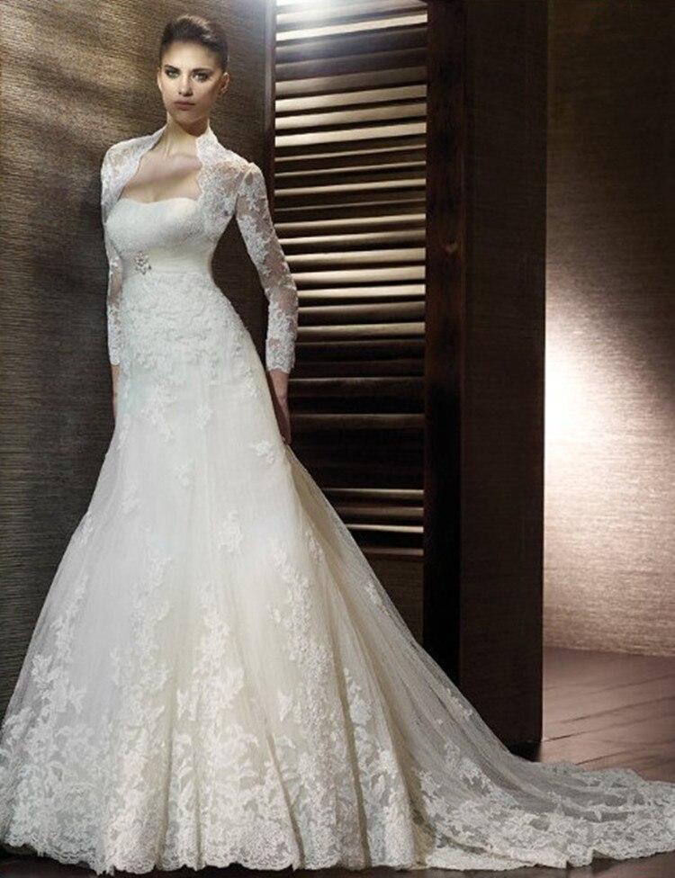 Free Shipping 2016 Maxi Customize Plus Size Crystal Decoration Lace Long Trailing Tea Bride Wedding Dress Lace Jacket Dresses
