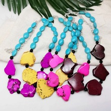 цена на Irregular colored stone necklace short turquoise bead necklace