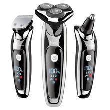 Hatteker 2019 nova chegada barbeador elétrico facial barbeador elétrico para homens aliciamento kit usb recarregável masculino barba máquina de barbear