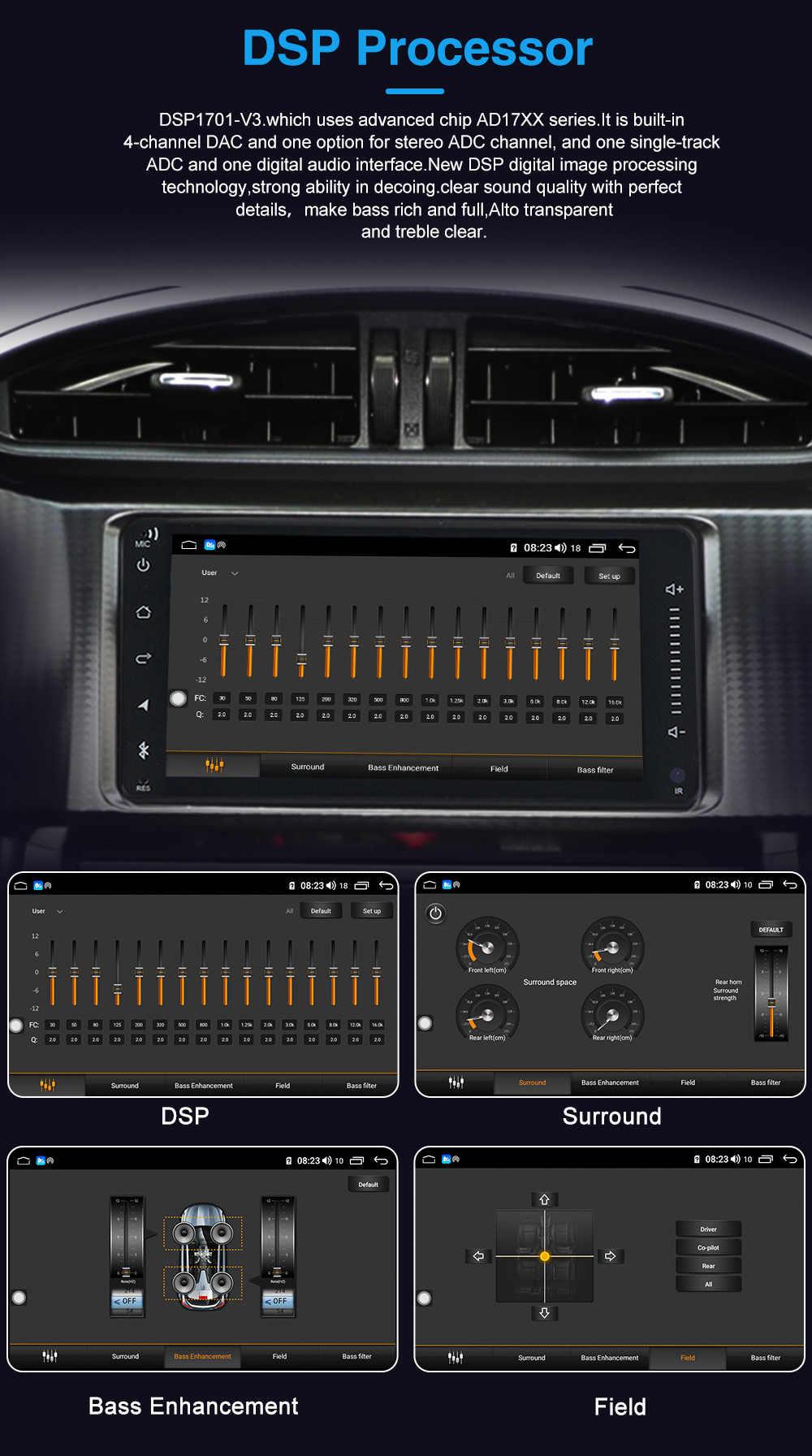 Ses kontrolü Android 10 7 inç 2Din evrensel araba radyo GPS multimedya ünitesi oynatıcı VW Nissan Kia wifi ile 4G lte BT