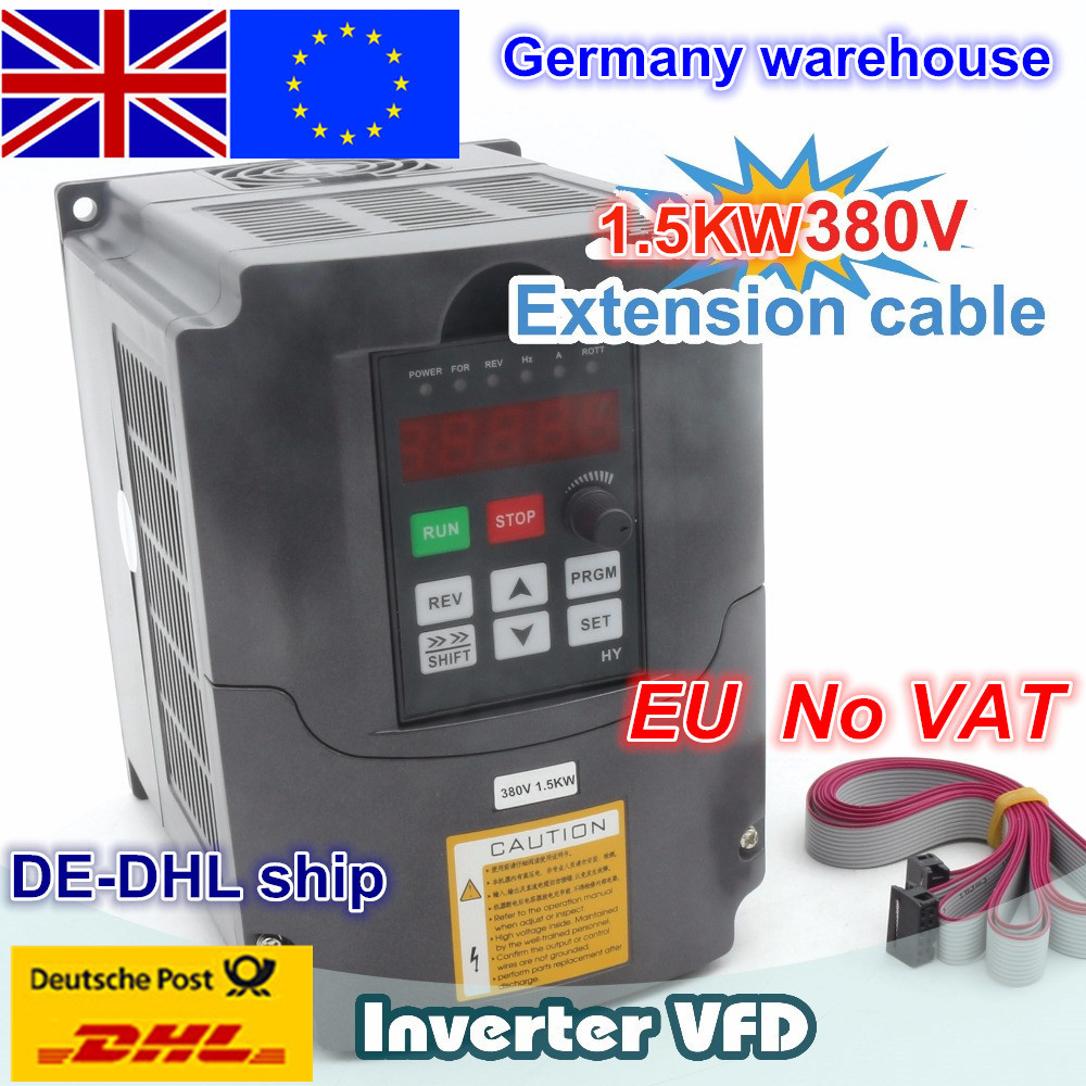 New <font><b>1</b></font>.5kw Variable Frequency Drive VFD <font><b>Inverter</b></font> 5A Input <font><b>3</b></font> <font><b>phase</b></font> <font><b>220V</b></font> / 380V& Extension cable control panel box image