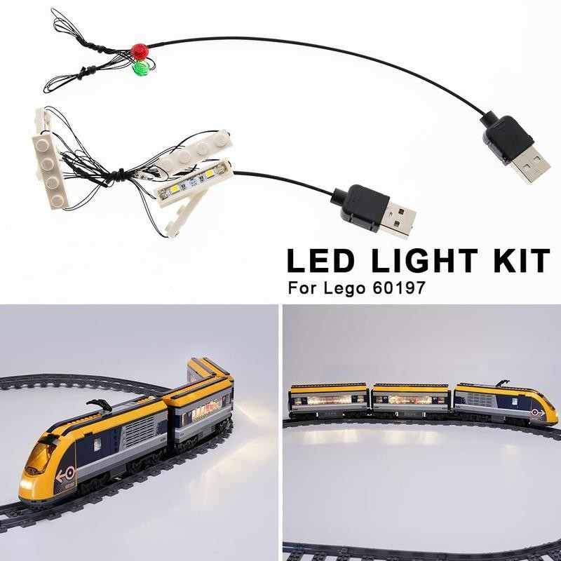 Led Light Kit For <font><b>Lego</b></font> <font><b>60197</b></font> Creative DIY Passenger Train Building Blocks Assembled Model Led Lighting Decoration Accessories image