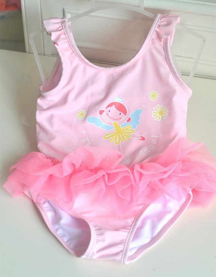 2020 New Style KID'S Swimwear Small Children Baby GIRL'S Pink Cartoon Angel Gong Zhu One-piece Swimwear