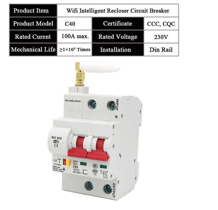 EWeLink WiFi 2P interruptor de circuito inteligente interruptor automático de sobrecarga de protección de cortocircuito, trabajar con Amazon Alexa Google home