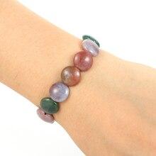 Unisex Men Women Natural Stone Bracelet 1.25CM Flat Round India Onyx Beads Elastic Bracelets Friend Gift Charm Strand Jewelry