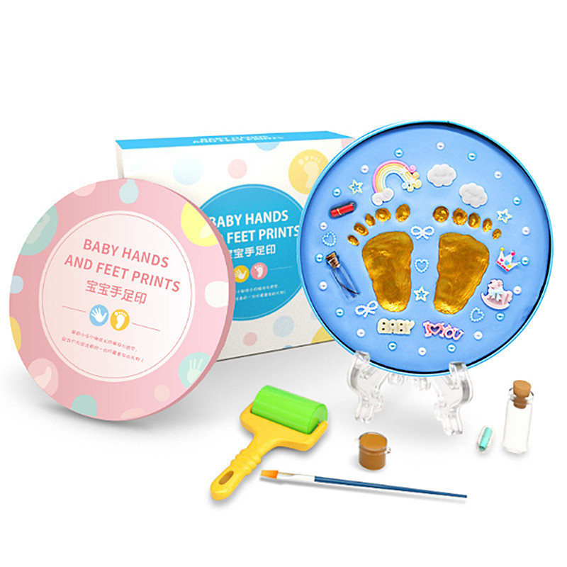 Baby Hand Print Footprint Imprint Set Baby Growth Souvenir Hands And Foot Print Mud With Stand And Fetal Hair Bottle DIY Toys