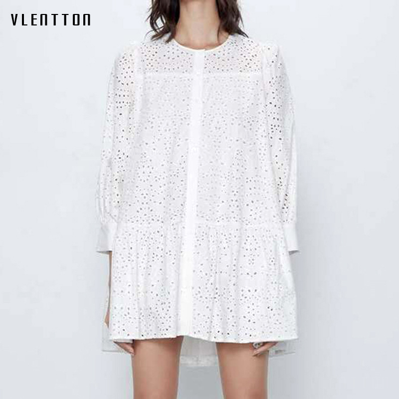 2020 Spring Autumn Sexy Hollow Out Mini Shirt Dress Women Long Sleeve Casual Loose White A-Line Party Dresses Female Vestidos