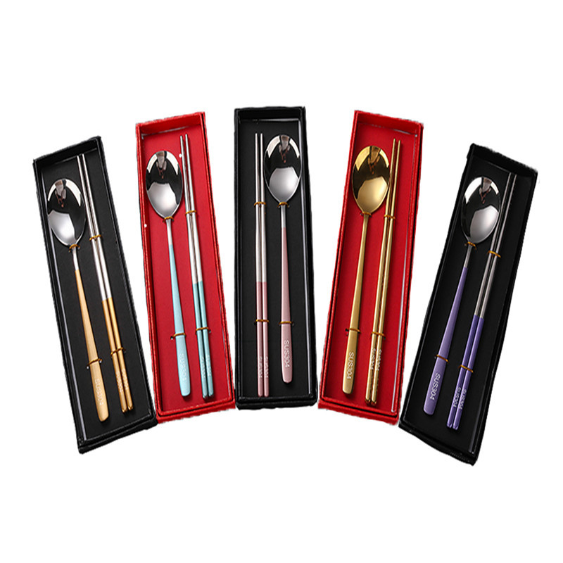 Stainless Steel Chopstick Chinese Tableware Set Colorful Length Reusable Chopsticks Spoon Dishware Antiskid Household Tableware in Spoons from Home Garden
