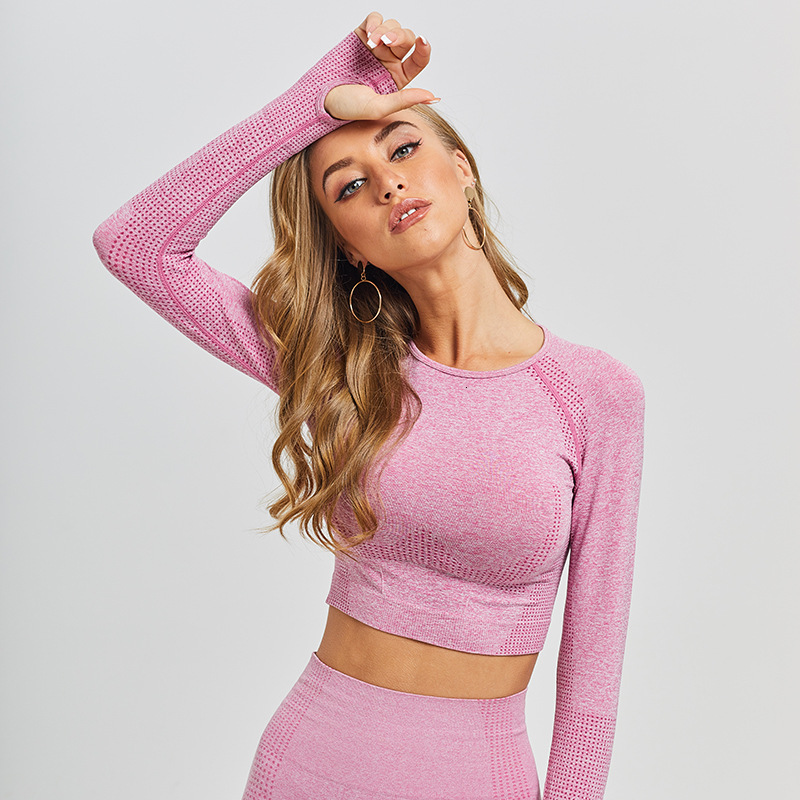 Outdoor Crop Top Women Long Sleeve Yoga Top Sport Top Fitness Gym Top Seamless Sport Shirt Women Quick Dry Top Deportivo Mujer