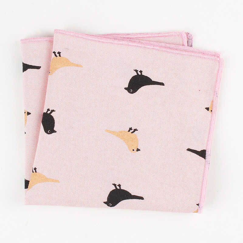 Cartoon Design Men Pocket Square Printed Bird Feather Soft Light Elegant Handkerchief 24*24cm Suits Pockets For Wedding Party