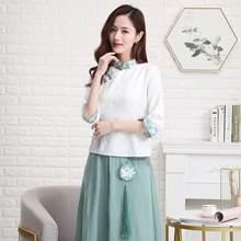 Женская белая блузка из хлопка и льна винтажный Топ с воротником
