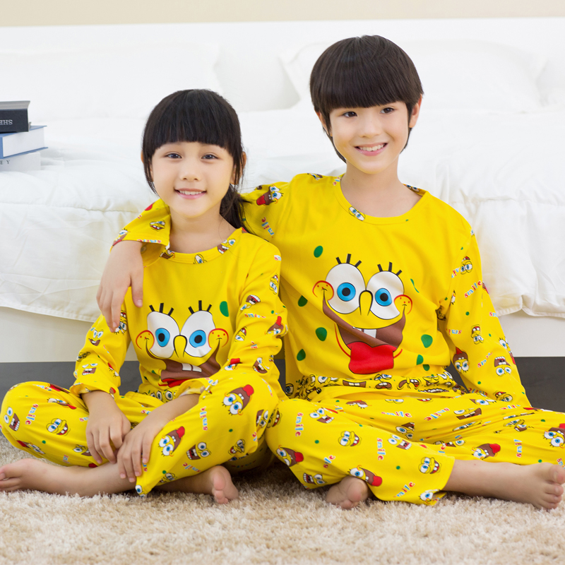 New Arrivals 2019 Spring Summer Children Pajamas Set Baby Long Sleeved Sleepwear Suit Girls Nightwear Pants Boys Tops Kids Gift