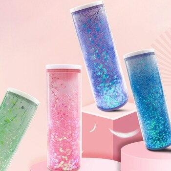 Coreano arenas movedizas translúcido lápiz casos multifunción cilíndrico caja de lápices para Colegio caso lindo chico chica rosa azul sostenedor de la pluma