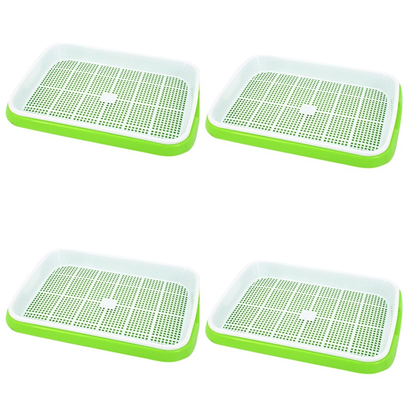 4Pc/Set Plant Flower Germination Tray Box Double Layer Seed Sprouter Nursery Tray Hydroponics Basket (Green#) Grow Bags     - title=