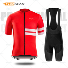 Raphaing Cycling Clothing MTB Jersey Set Mens Short Sleeve Daily Leisure Biking Clothes Gel Padded Bicycle Shorts Kit Breathable