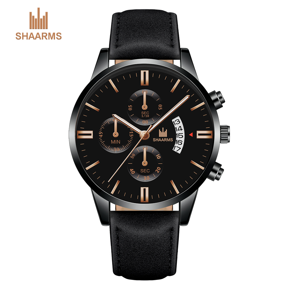 SHAARMS Mens Luxury Leather Watch Men Fashion Calendar Quartz Watches Business Casual Wristwatch For Man Clock Hot Drop Shipping