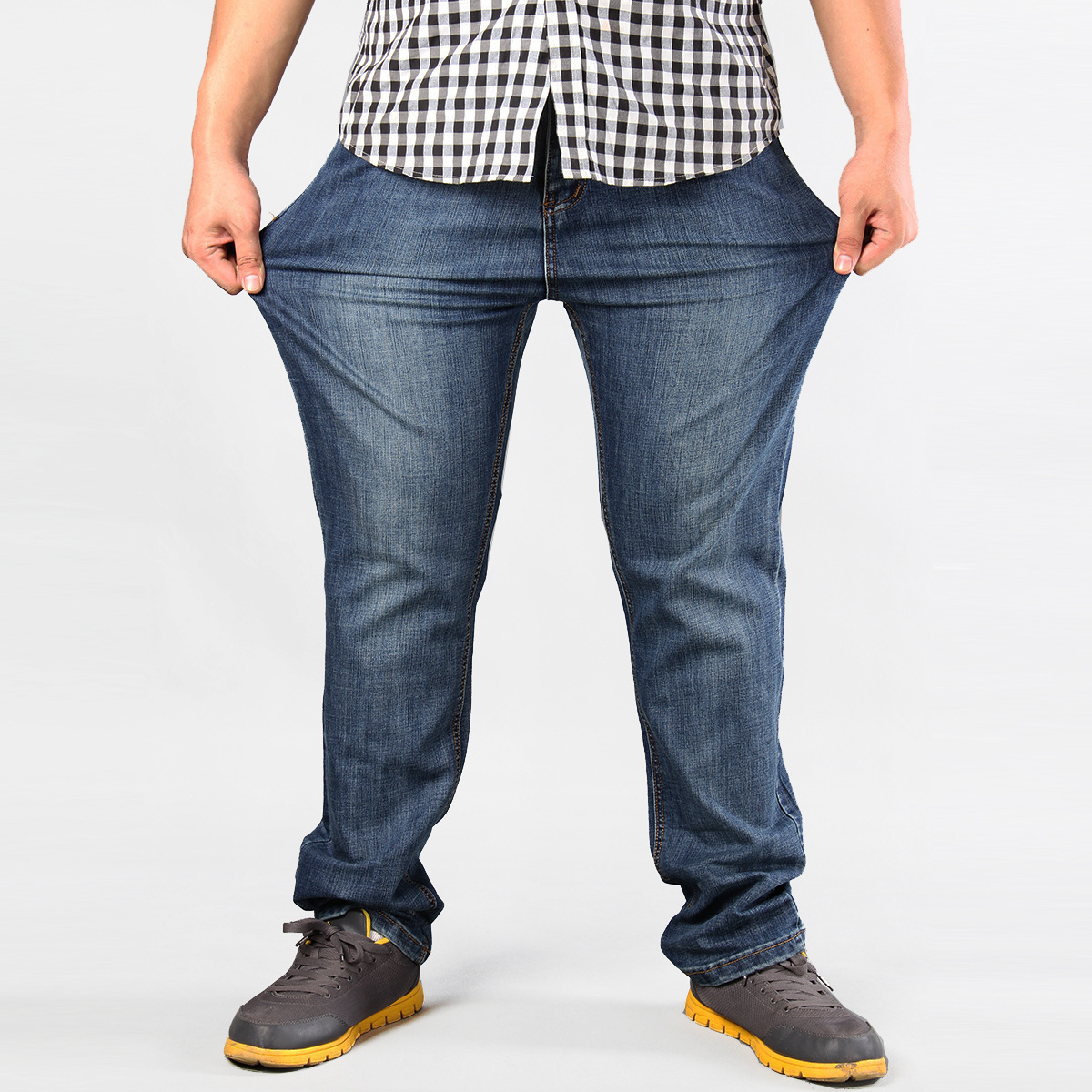 Obesity Men Plus-sized High Waist Lard-bucket Pants Fat Fatty Loose And Plus-sized Daddy Clothes Cowboy Trousers