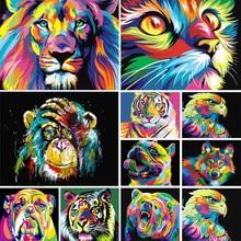 5Dダイヤモンドの絵画動物セット、色、ライオン、トラ、猫、正方形のダイヤモンドの刺繍、モザイク画像、クロスステッチ、diyの装飾