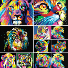 5D diamond painting animal set, color, lion, tiger, cat, square diamond embroidery, mosaic picture, cross stitch, DIY decoration