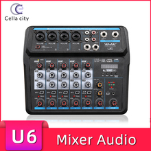 CELLA CITY Audio Mixer Six Channel Professional Bluetooth Wireless Connection DJ Mixer Controller Live Recording Music Mixer