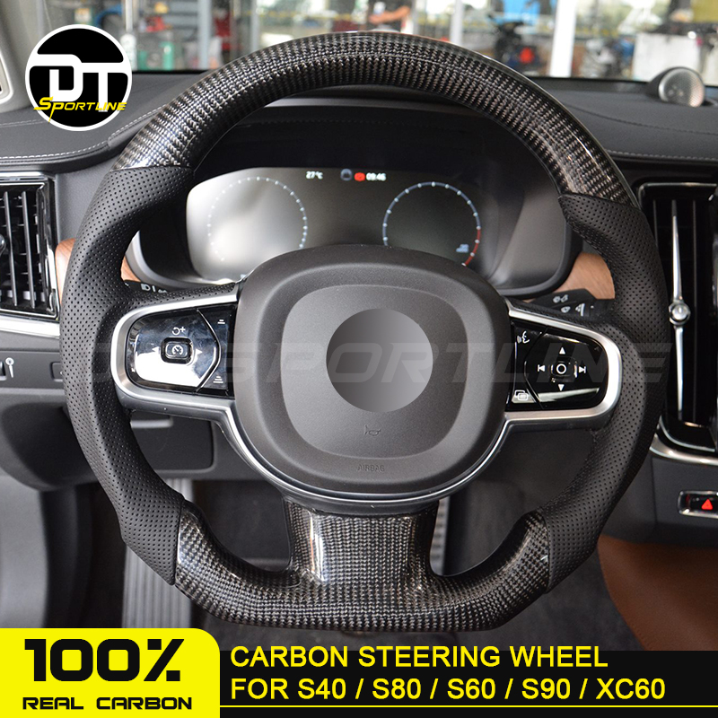 customized <font><b>Carbon</b></font> Fiber Steering Wheel For VOLVO car Replacement For VOLVO S40 S80 LS60 LS90 <font><b>XC60</b></font> V90 V40 rudder image