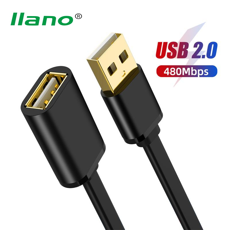 LLANO USB 2.0 USB Extension Cable AM-AF Cable for Smart TV PS4 One SSD USB2.0 to Extender Data Cord Mini USB Extension Cable image