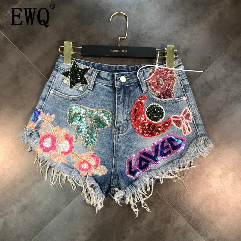 [EWQ] 2020  New Arrivals Moon Stars Sequins Embroidery Tassel Patch Raw Denim Shorts Female Fashion Tide Women ME670