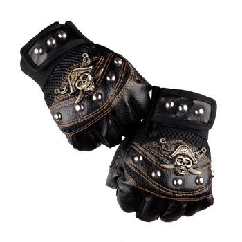 Czaszki nit PU skórzane rękawiczki bez palców mężczyźni kobiety moda Hip Hop damskie siłownia Punk rękawiczki pół palca rękawiczki męskie tanie i dobre opinie NoEnName_Null Unisex Skóra syntetyczna NYLON Poliester Dla dorosłych Stałe Nadgarstek Nowość Fingerless Gloves