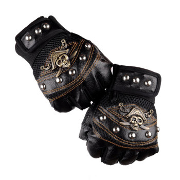 Skulls Rivet PU Leather Fingerless Gloves Men Women Fashion Hip Hop Women's Gym Punk Gloves Half Finger Men's Gloves