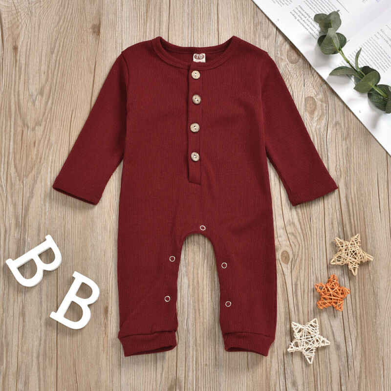 2020 bebé primavera otoño ropa infantil bebé niña niño ropa de manga larga de punto mameluco acanalado sólido mono conjunto