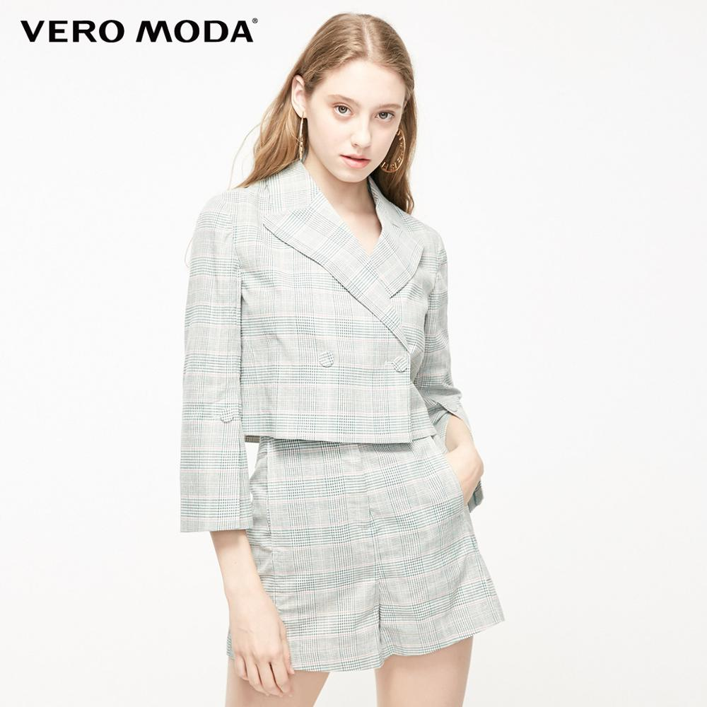 Vero Moda Women's Houndstooth Two-button Short Blazer | 319208512