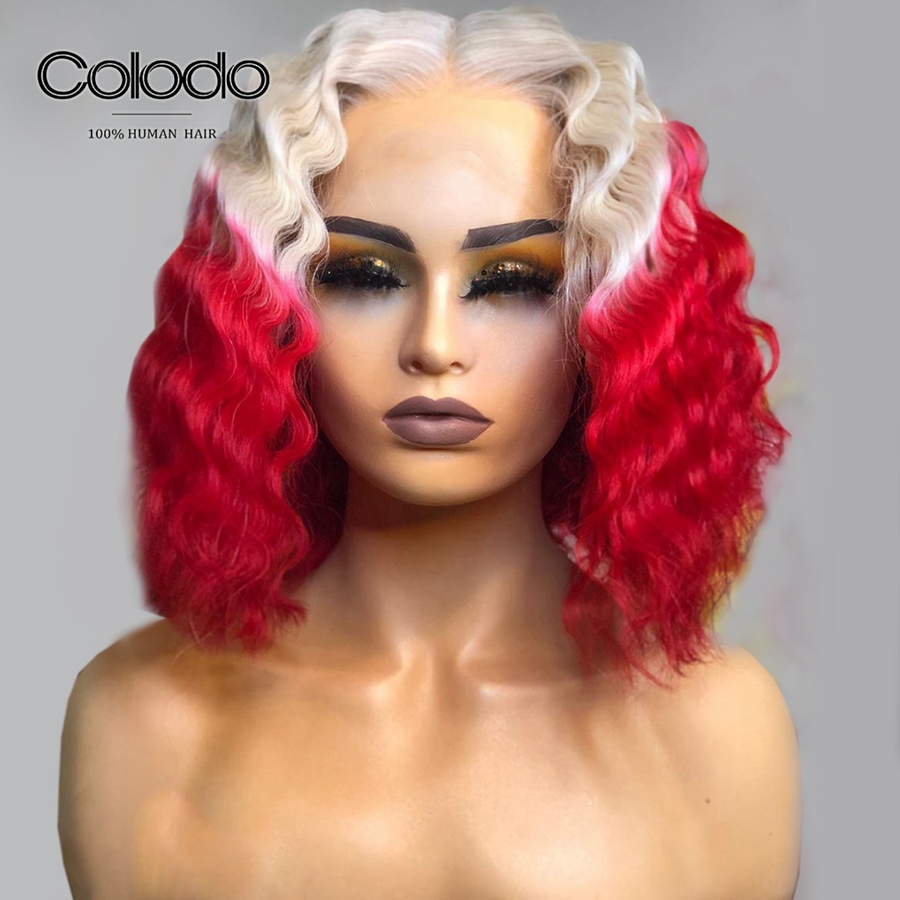 COLODO 150% Density Red Ombre Bob Lace Front Wig Glueless Deep Wave 13X4 Short Human Hair Wigs Remy Brazilian Wigs for Women