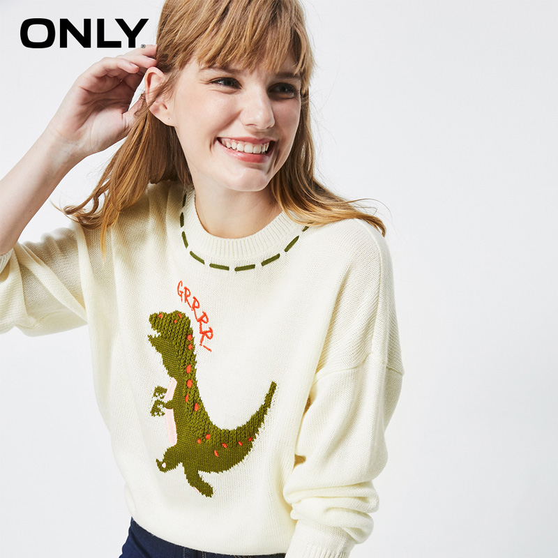 ONLY Winter  Loose Fit Cute Pattern Round Collar Sweater | 119313540