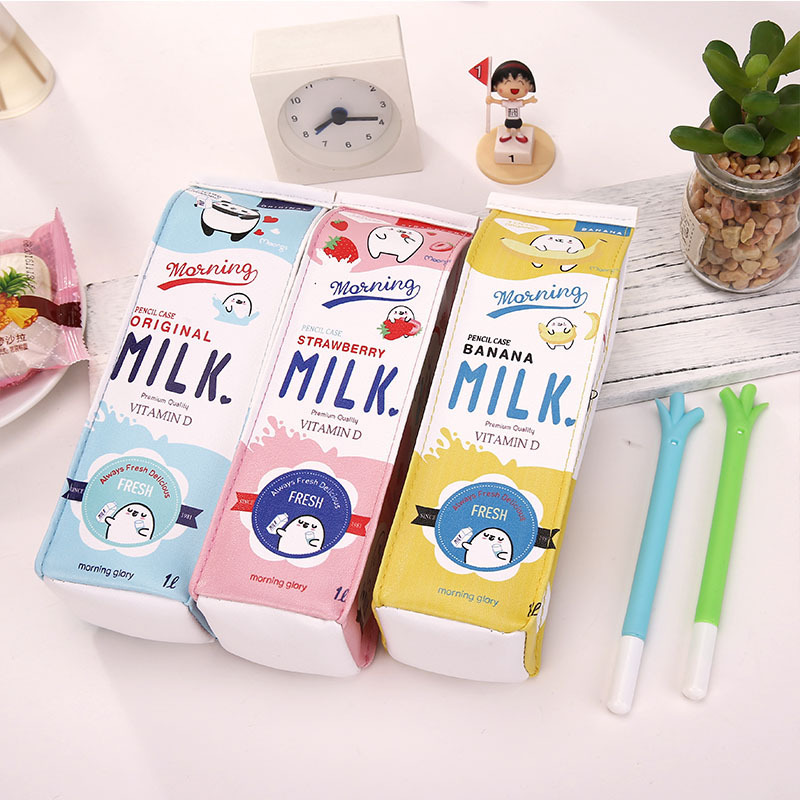 Cute Korea Kawaii Pencil Case School Pencil Case For Girls Boys Leather Milk Pen Box Pencilcase Stationery Bag School Supplies