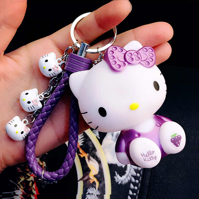 Cute Pink Hello Kitty Cartoon Doll Key Chain Key Ring Female Fashion Bell Leather Rope Key Chain Girl Bag Pendant Jewelry Gift